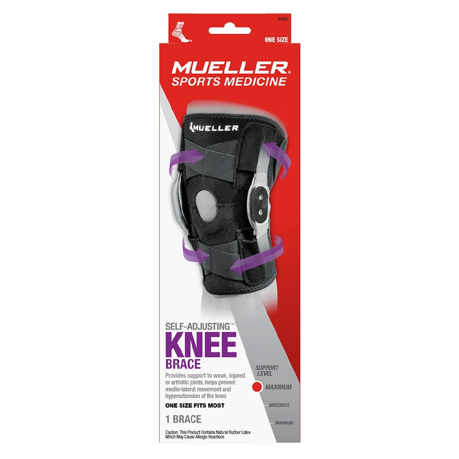 f33a0573c6 Mueller Adjustable Hinged Knee Brace, Maximum Support, Model 6455 One Size  Black1.0 ea