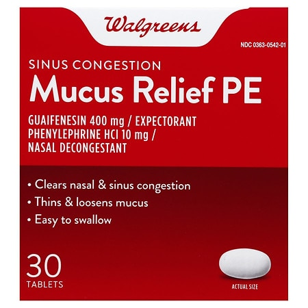 Walgreens Mucus Relief PE Sinus Congestion Tablets - 30 ea