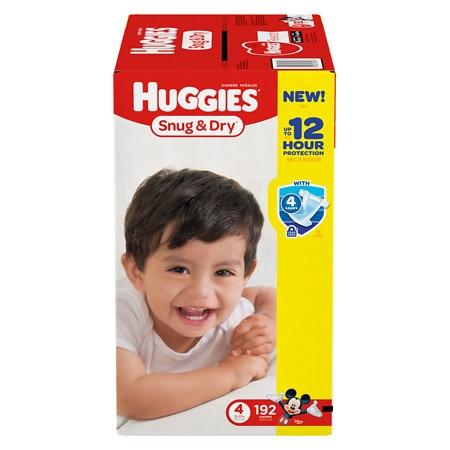 Huggies Snug & Dry Diapers, Size 4 - 192 ea