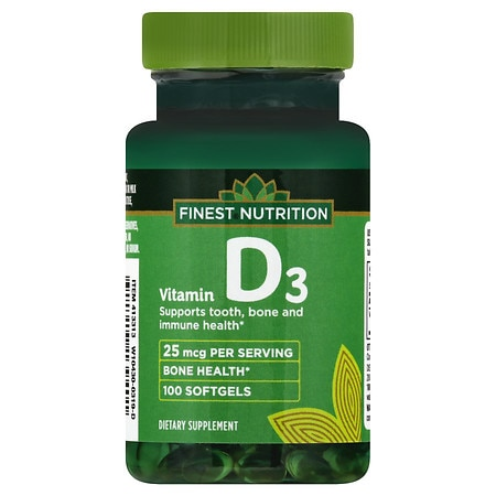 Finest Nutrition D3 Vitamin 1000 IU Dietary Supplement Softgels