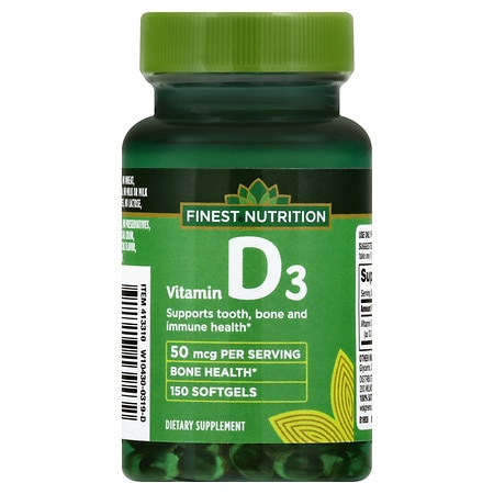 Finest Nutrition Vitamin D3 2000IU, Softgels - 150 ea