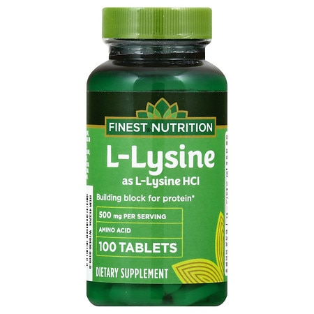 Finest Nutrition L-Lysine 500 mcg Dietary Supplement Tablets - 100 ea