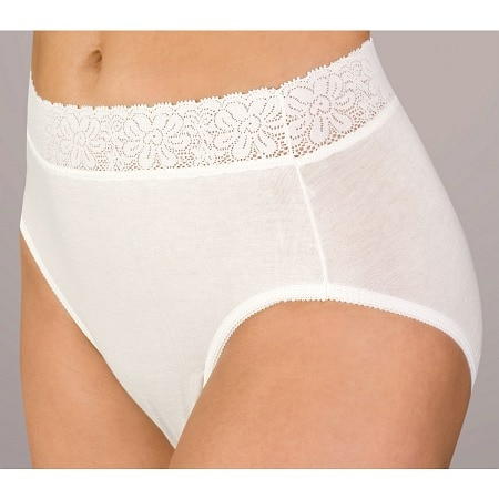 Wearever Reusable Women's Lace Cotton Incontinence Panty White - 1 ea