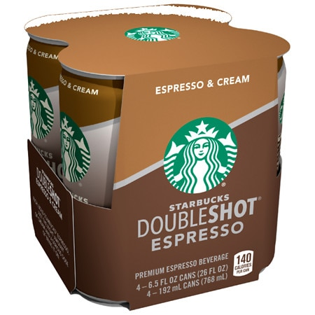 Starbucks Coffee Doubleshot Premium Coffee Drink Espresso & Cream,4 pk