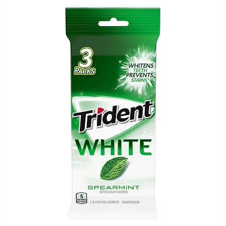 Trident White Sugar Free Gum 3 Pack Spearmint