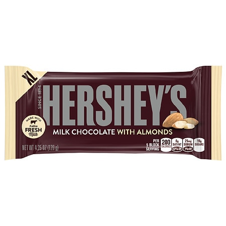 Hershey's Milk Chocolate Candy Bar Almonds