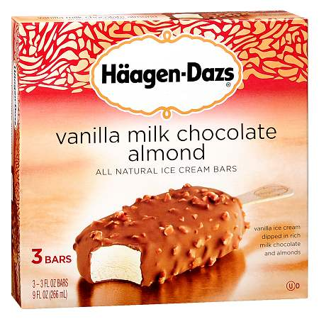 Haagen-Dazs Ice Cream Bars Vanilla Milk Chocolate Almond,3 pk