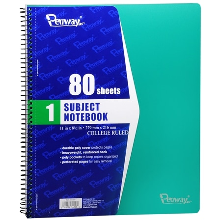 Penway 1 Subject Spiral Notebook College Ruled