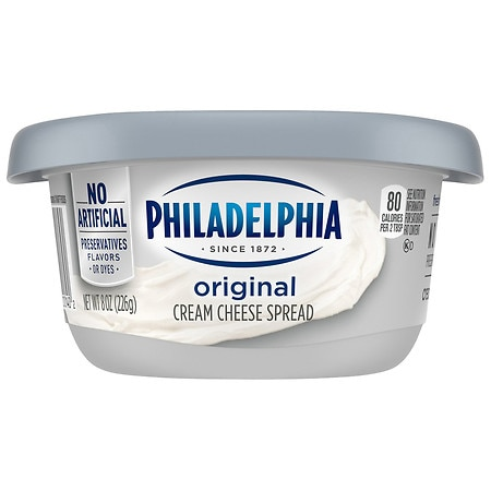Philadelphia 8 ounce Original Cream Cheese, 8 ounce -- 12 per case.