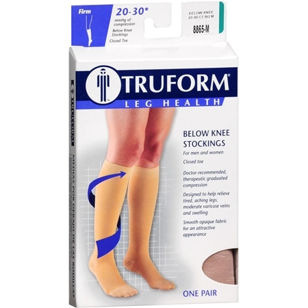 Truform Stocking, Below Knee Closed Toe Style (Firm) 20-30mm M - 1 pr