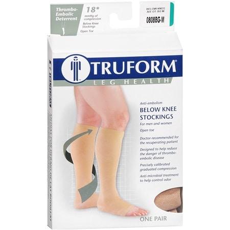 Truform Unisex 18 mmHg Open Toe Anti-Embolism Below Knee Stockings M - 1 pr