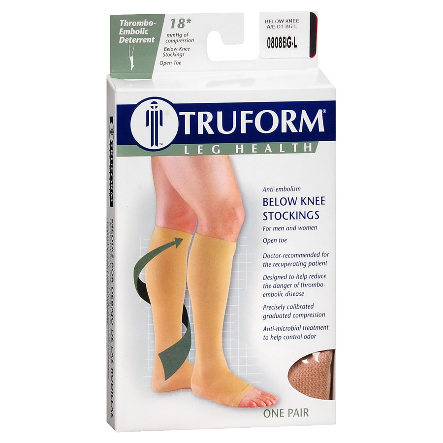 d20548868a Truform Anti-Embolism Stocking, Below Knee Open Toe Style L, Beige1.0 pr