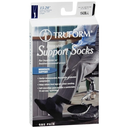 Truform Men's Moderate Dress-Style Support Socks Size L Large - 1 pr