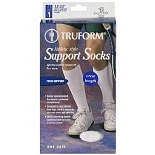 Truform Men's Athletic-Style Crew Length Firm (15-20 mm) Support Socks White