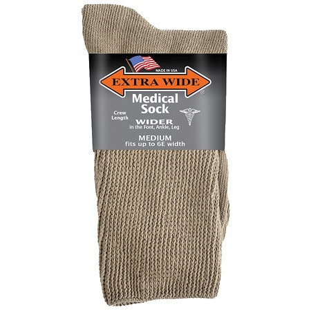 Extra Wide Medical Socks Mens Tan