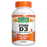 Botanic Choice Vitamin D3 1000 IU Dietary Supplement Capsules