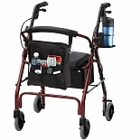 Nova GetGO Classic Rolling Walker w/  Pouch & Cup Holder Red