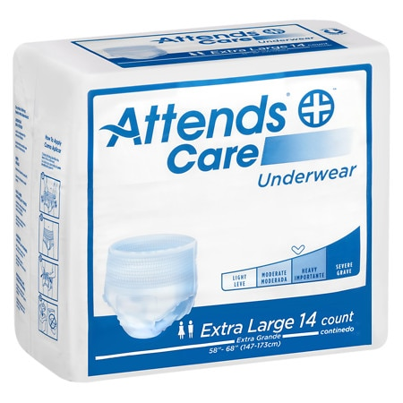 Attends Underwear Regular Moderate Absorbency Extra Large 58 inch - 68 inch White