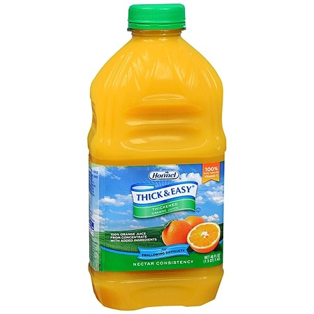 Hormel Thick & Easy Thickened Orange Juice Nectar Consistency 48 oz Bottles, 6 pk