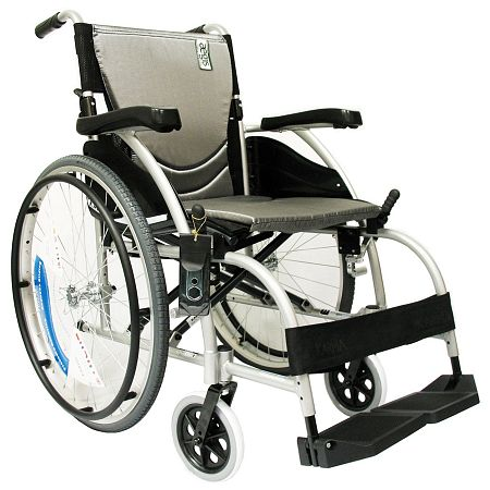Karman 16 inch Aluminum Wheelchair with Fixed Armrests and Footrests, 27lbs Silver