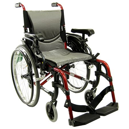 Karman 16 inch Aluminum Wheelchair with Flip-Back Armrests, 29lbs Red