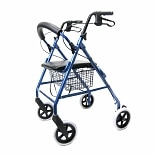 Karman Aluminum Rollator with Loop Brakes and 8 inch Wheels, 15lbs Blue