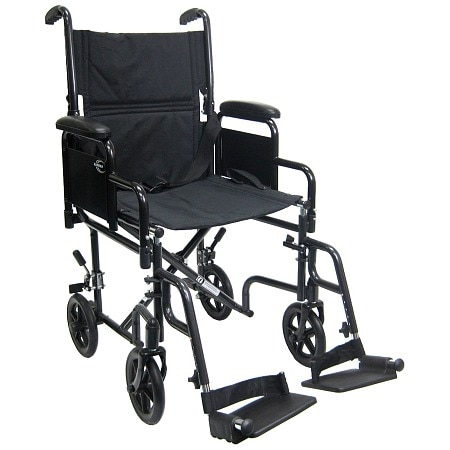 Karman 19 inch Steel Transport Chair with Removable Armrests, 29lbs Black
