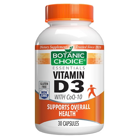 Botanic Choice Vitamin D3 with CoQ10 Dietary Supplement Capsules
