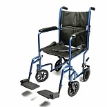 Everest & Jennings Aluminum Transport Chair 17 Inch Blue