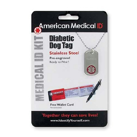 American Medical ID Diabetes Pre-Engraved Dog Tag Necklace ...