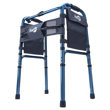 Hugo Adjustable Folding Walker With Bonus 5 Inch Wheels and Plastic Glides Sapphire Blue