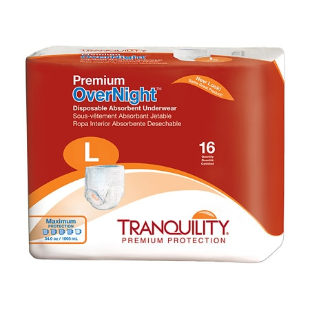 Tranquility Premium OverNight Disposable Underwear Large - 64 ea.