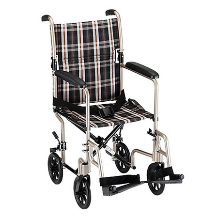 Nova Transport Chair Lightweight with S/A Footrests 18 Inch Seat Gold Plaid