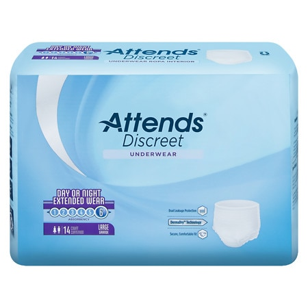 Attends Underwear Overnight Extended Wear Heavy Absorbency Large 44 inch - 58 inch White