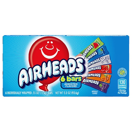 Airheads Chewy Fruit Candy Bars - 0.55 oz. x 6 pack