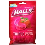 Halls Menthol Cough Suppressant Oral Anesthetic Drops Strawberry
