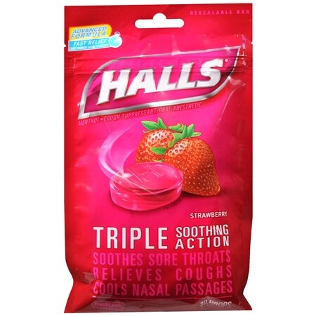 Halls Menthol Cough Suppressant Oral Anesthetic Drops Strawberry - 30 ea.