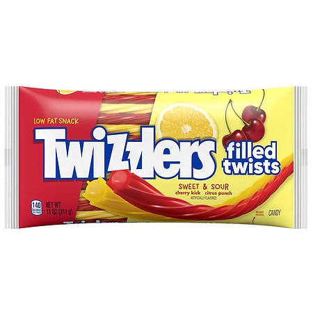 Twizzlers Filled Twists Sweet & Sour Candy Cherry Kick & Citrus Punch