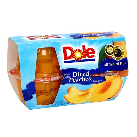 Dole Yellow Cling Sliced Peaches in Light Syrup - 4 oz. x 4 pack