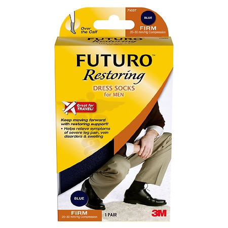 FUTURO Restoring Men's Firm Over the Calf Dress Socks Navy