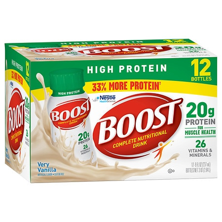 Boost High Protein Complete Nutritional Drink Very Vanilla,8 oz Bottles, 12 pk