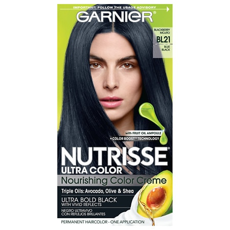 Garnier Nutrisse Ultra Color Nourishing Color Creme Permanent Haircolor Reflective Blue Black 21