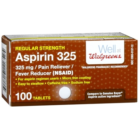 Walgreens Aspirin 325 mg Tablets - 100 ea.