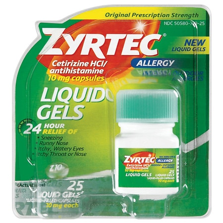 Zyrtec Allergy 24 Hour 10mg Liquid Gels