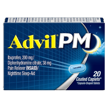 Advil PM Pain Reliever & Nighttime Sleep Aid Coated Caplet, 200mg Ibuprofen - 120 ea