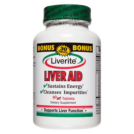 Liverite Liver Aid Dietary Supplement Tablets - 90 ea