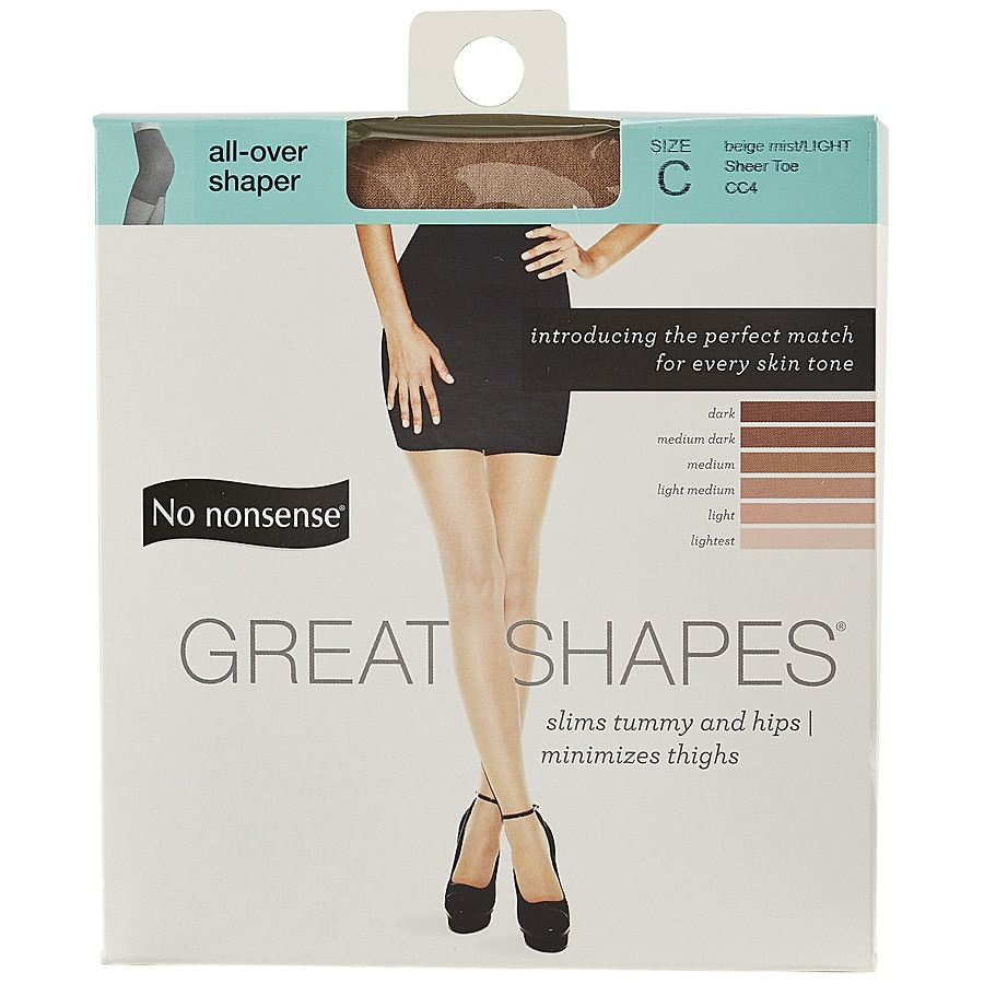 No Nonsense Great Shapes All Over Shaper Sheer Toe Body Shaping Hose C Beige Mist Cc41 0 Ea