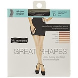 No Nonsense Great Shapes All-Over Shaper Sheer Toe Body Shaping Pantyhose Size D D Midnight Black