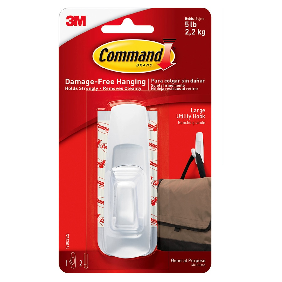 Command Hook + Adhesive Strips Large White