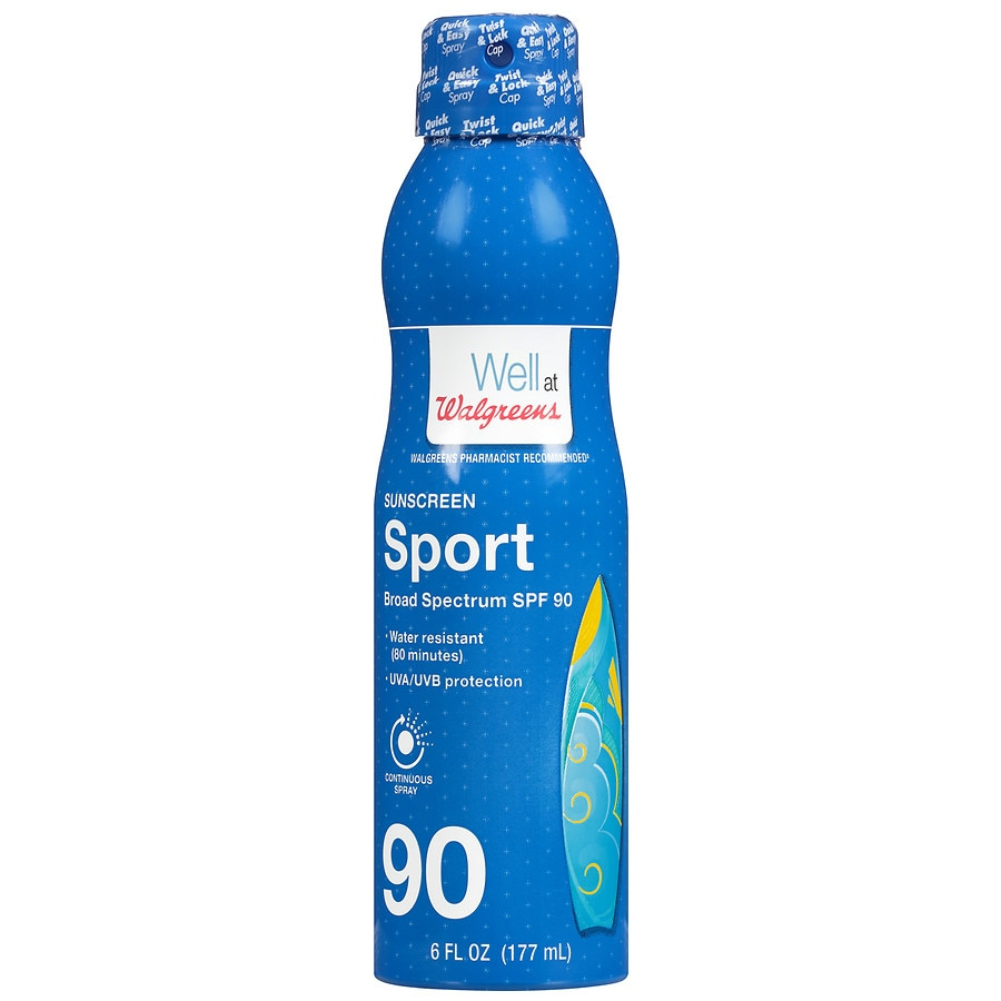 Well at Walgreens Sport Continuous Spray Sunscreen, SPF 90 | Walgreens